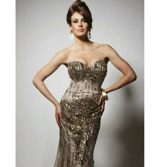 Champagne Prom Dress Tony Bows